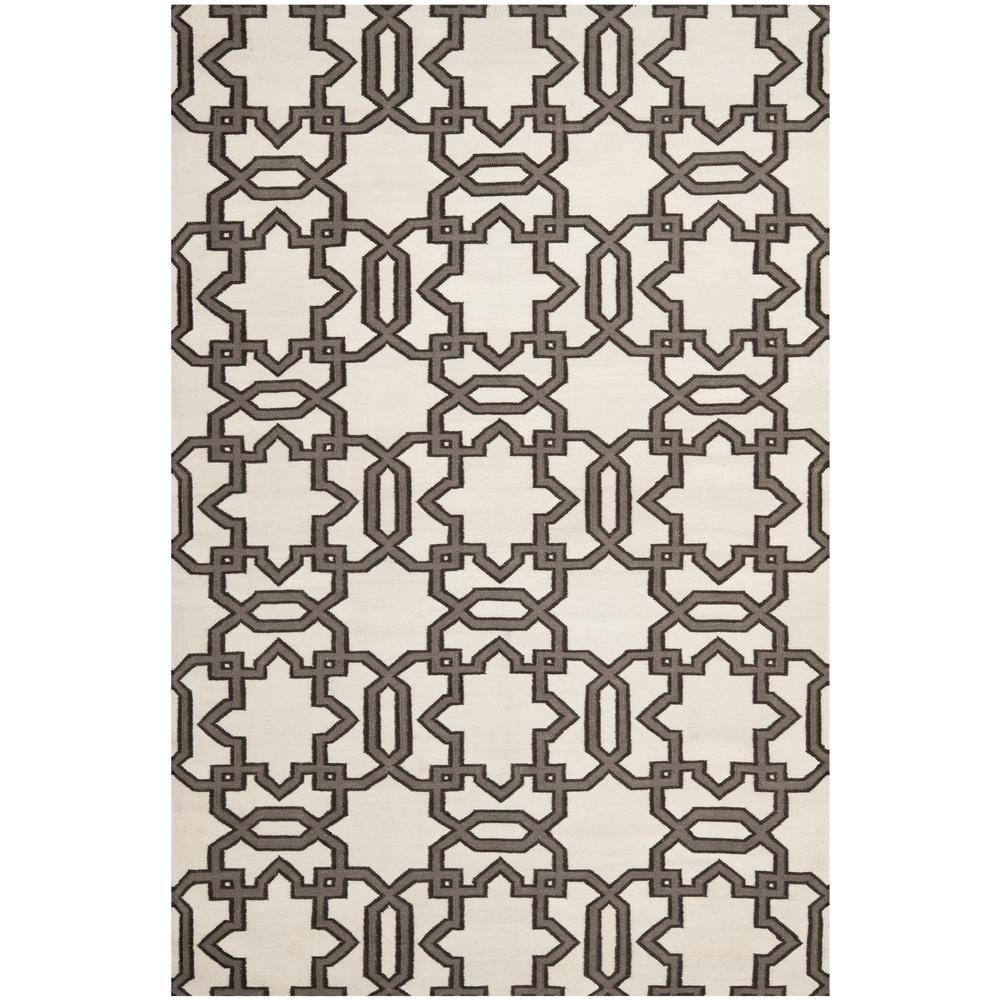 Dhurries Ivory/Gray 6 ft. x 9 ft. Area Rug