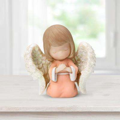 Tabletop Resin Mini Angel Hands On Heart Figurine