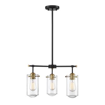 3-Light English Bronze and Warm Brass Chandelier with Clear Glass