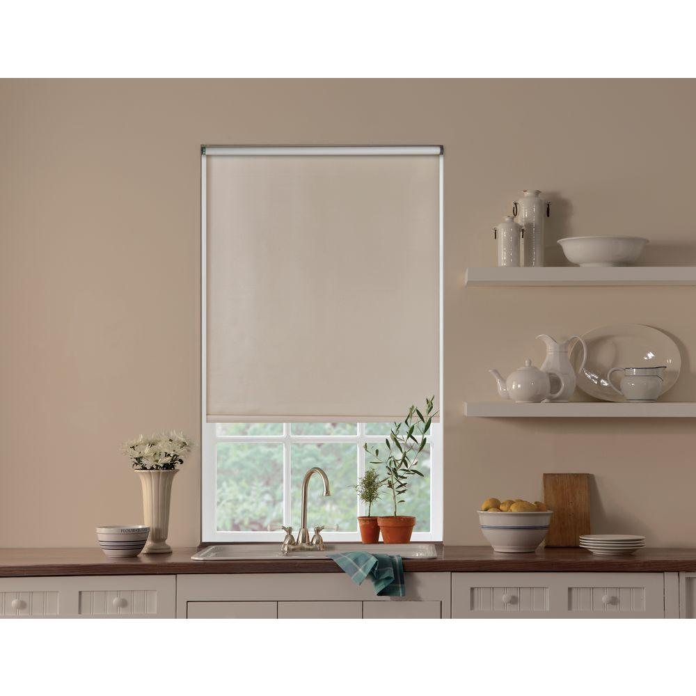 Bali Cut-to-Size Cut-to-Size Cream Cordless Blackout Fade resistant Roller Shades 42.5 in. W x 78 in. L