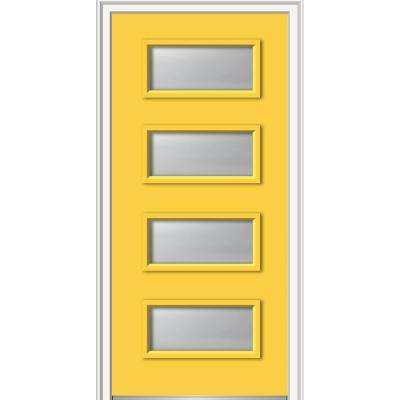 36 in. x 80 in. Celeste Left-Hand Inswing 4-Lite Frosted Glass Painted Steel Prehung Front Door on 4-9/16 in. Frame