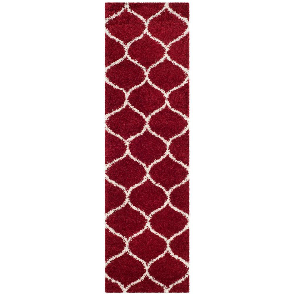 Hudson Shag Red/Ivory 2 ft. x 10 ft. Runner Rug