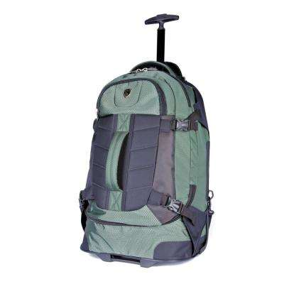21 in. Olive Multi-Pocket Rolling Backpack with Computer Section