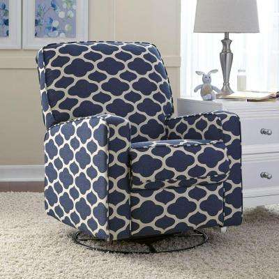 Sutton Blue/White Fabric Swivel Recliner