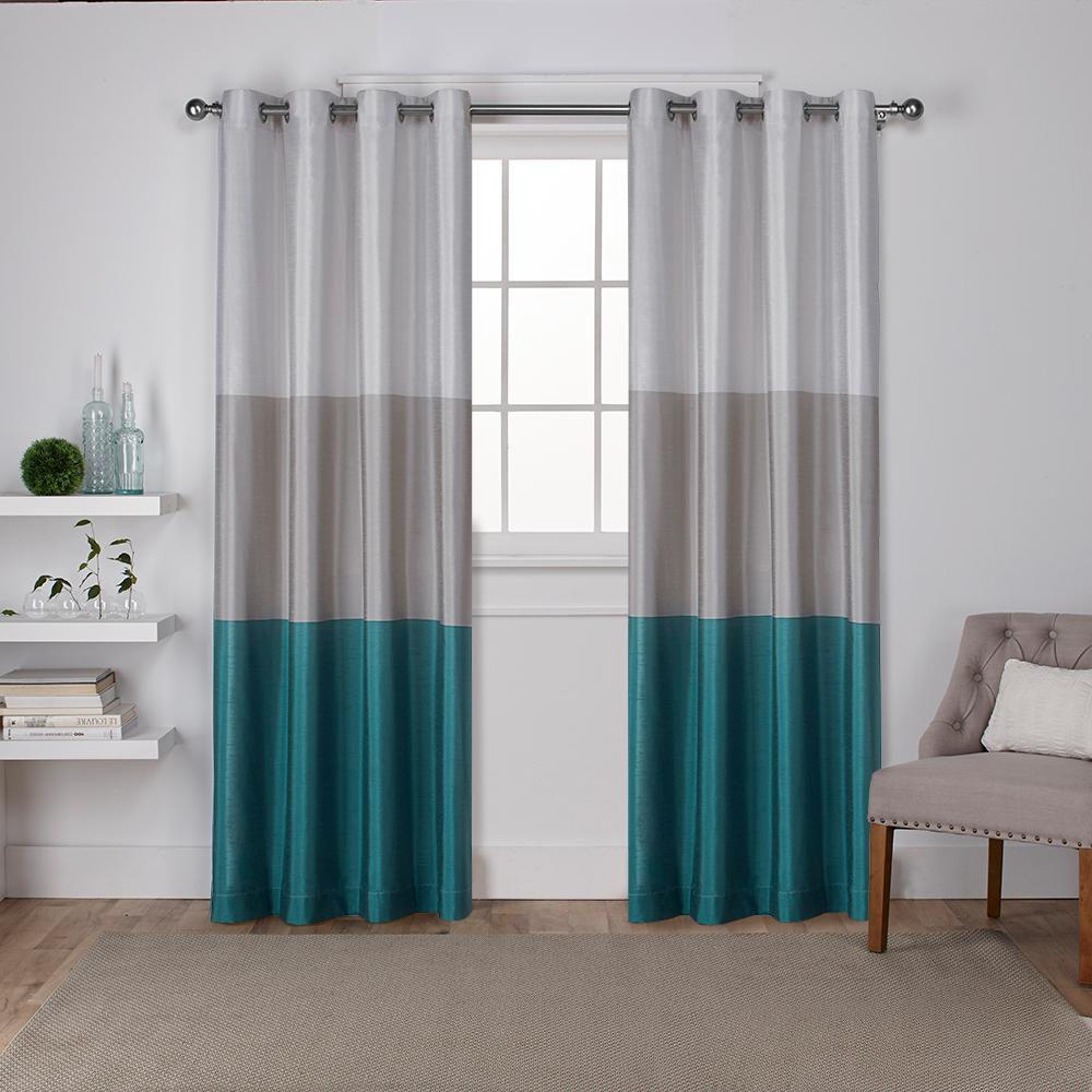 Chateau 54 in. W x 108 in. L Faux Silk Grommet Top Curtain Panel in Teal (2 Panels)