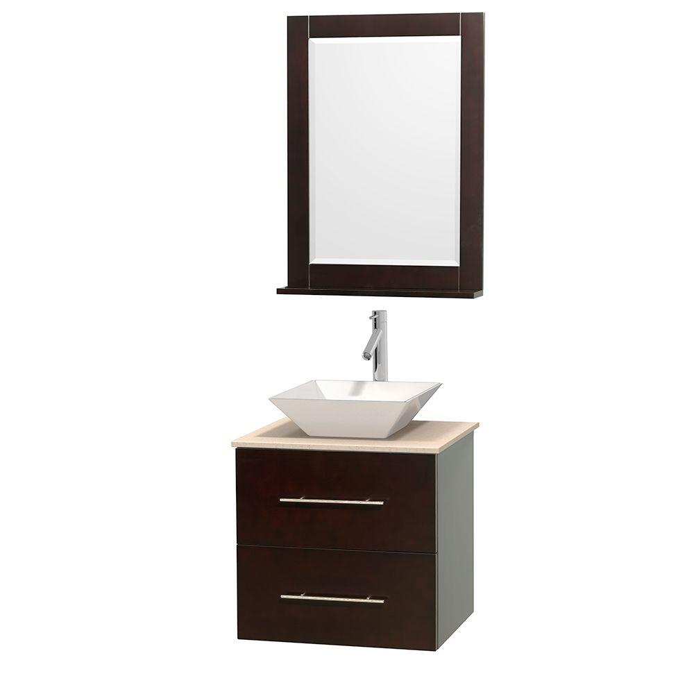 Wyndham Collection Centra 24 in. Vanity in Espresso with Marble Vanity Top in Ivory, Porcelain Sink and 24 in. Mirror