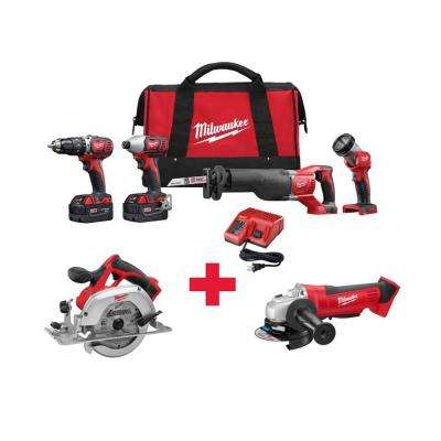 M18 18-Volt Lithium-Ion Cordless Combo Kit (4-Tool) with Free M18 6-1/2 in. Circ Saw and M18 Grinder