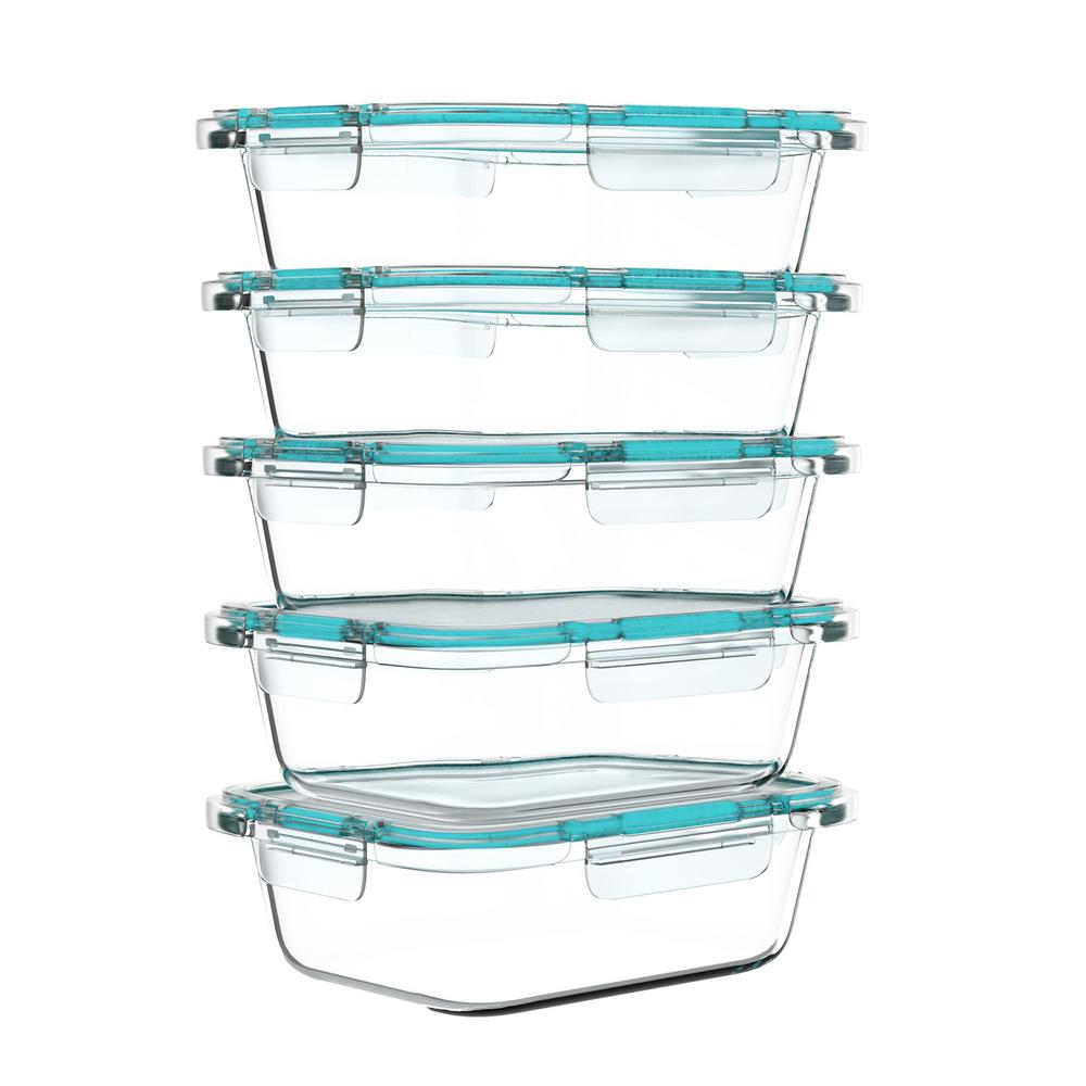 Classic Cuisine 10-Piece Glass Food Storage Containers with Snap Shut Lids