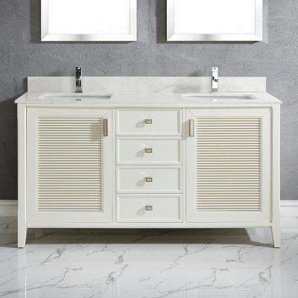 Aurora 63 in. W x 22 in. D Vanity in White with Quartz Vanity Top in White with White Basin and Mirror