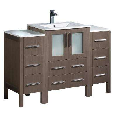 Torino 48 in. Bath Vanity in Gray Oak with Ceramic Vanity Top in White with White Basin and 2 Side Cabinets