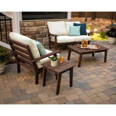 Grant Park Mahogany 4-Piece Plastic Patio Deep Seating Set with Wheat Cushions