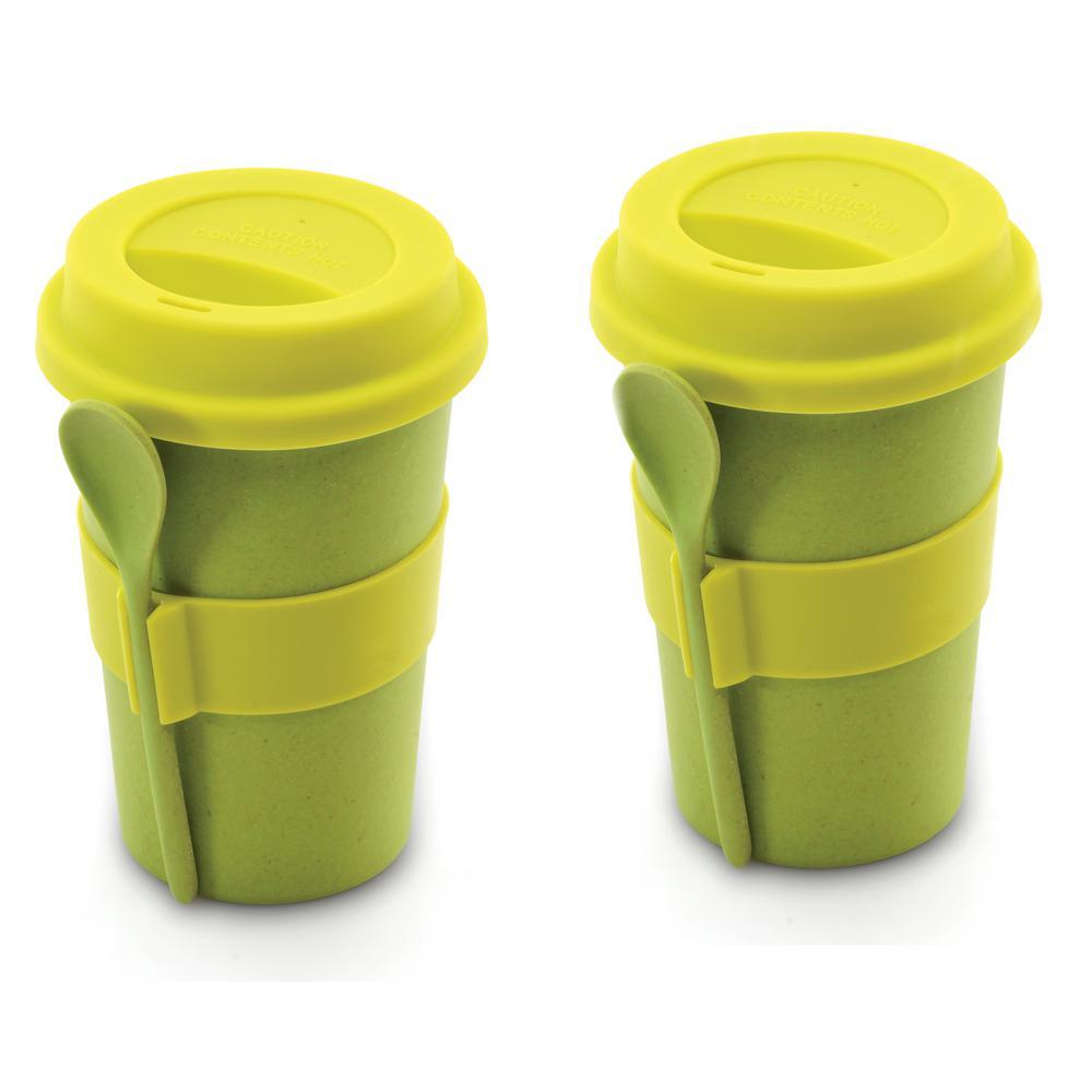 8 oz. CooknCo Green Coffee Mug with Spoon (Set of 2)