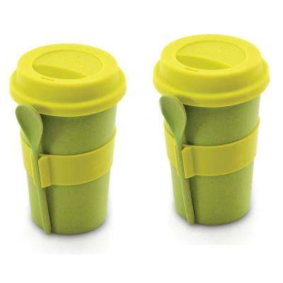 8 oz. CooknCo Green Coffee Mug with Spoon (Set of 2)