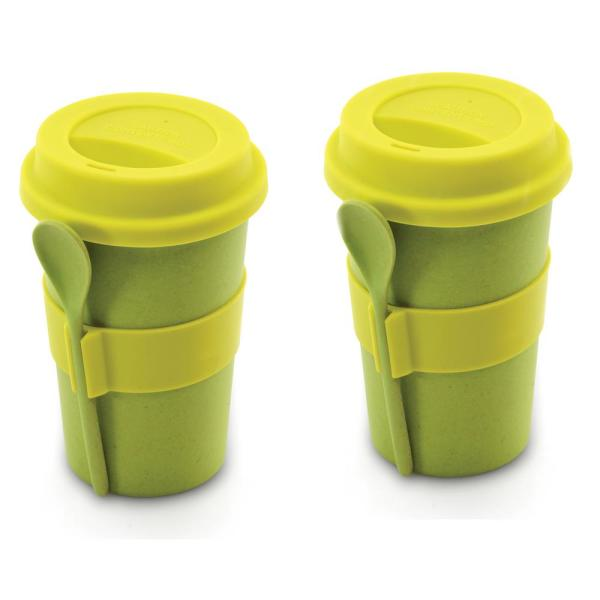 Berghoff 8 Oz Cooknco Green Coffee Mug With Spoon Set Of 2