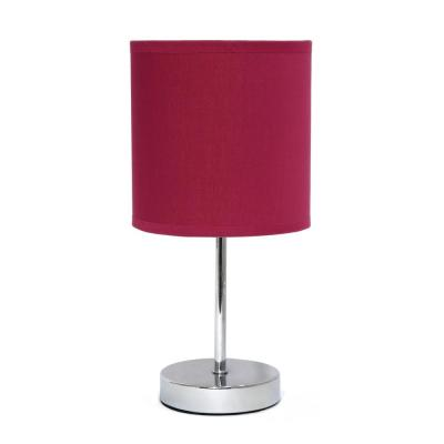 11 in. 1-Light Wine Chrome Mini Basic Table Lamp with Fabric Shade