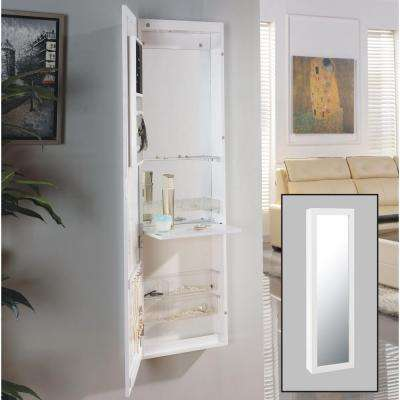 Urban White Over the Door Jewelry and Makeup Full Size Cabinet Mirror with Interior Mirror and Drop Down Shelf
