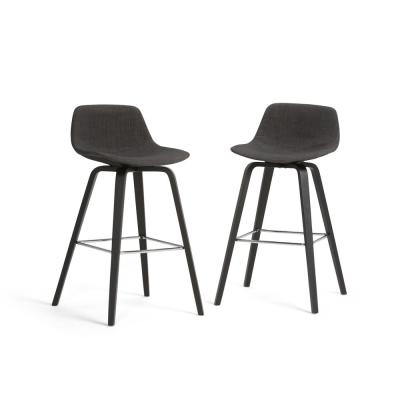 Randolph 36.61 in. Charcoal Grey, Black Linen Look Fabric Mid Century Modern Bentwood Counter Height Stool (Set of 2)