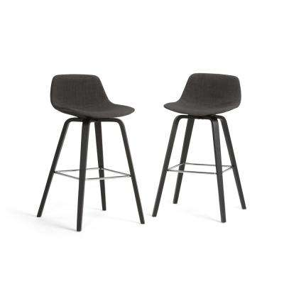 Randolph 36.61 in. Charcoal Grey and Black Bentwood Bar Stool (Set of 2)