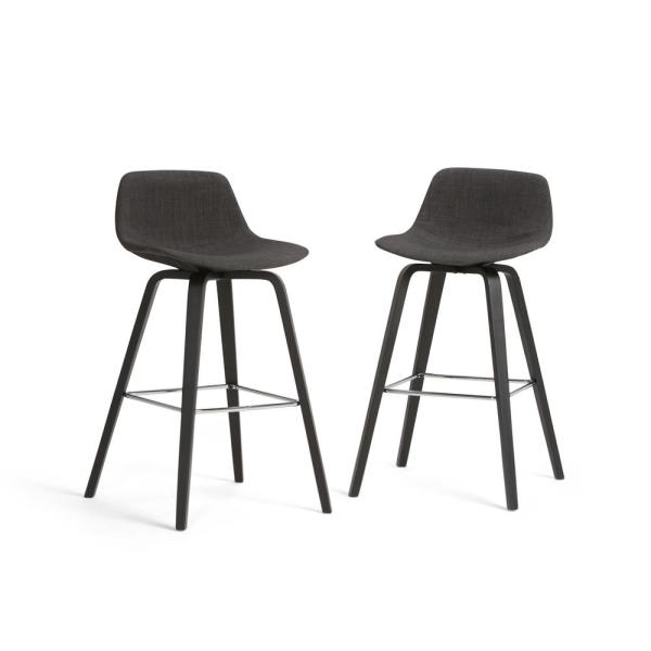 Simpli Home Randolph 36.61 in. Charcoal Grey, Black Linen Look Fabric Mid Century Modern Bentwood Counter Height Stool (Set of 2)