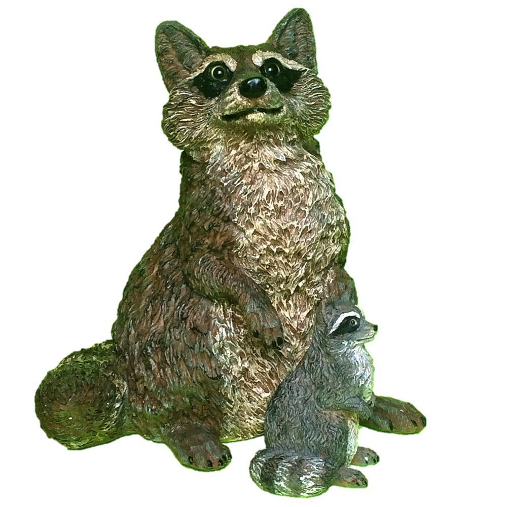 16 in. Raccoon and 6 in. Baby Raccoon Statue Combo Family