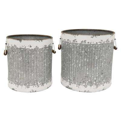 14 in. Metal Storage Containers (Set of 2)