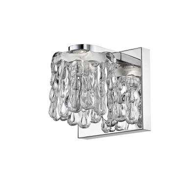 Wolter 40-Watt Equivalent Chrome Integrated LED Sconce with Clear Glass Shade