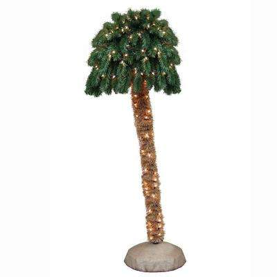 6 ft. Pre-Lit Palm Artificial Christmas Tree with Clear Lights