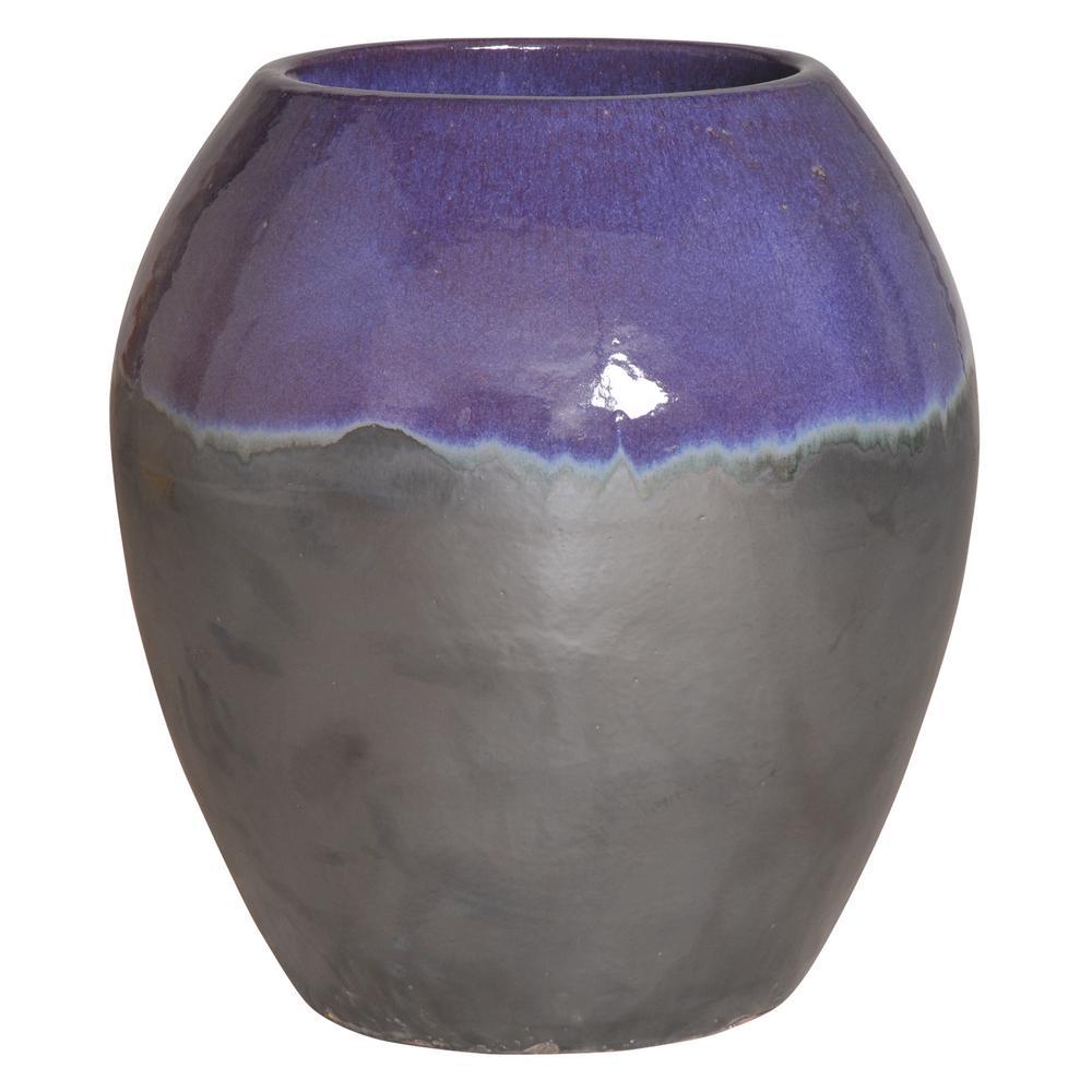 26 in. Two-Tone Eggplant Round Ceramic Planter/Jar