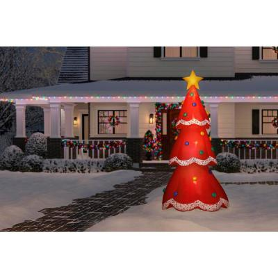 12.5 ft. Inflatable Fuzzy Plush Red Christmas Tree