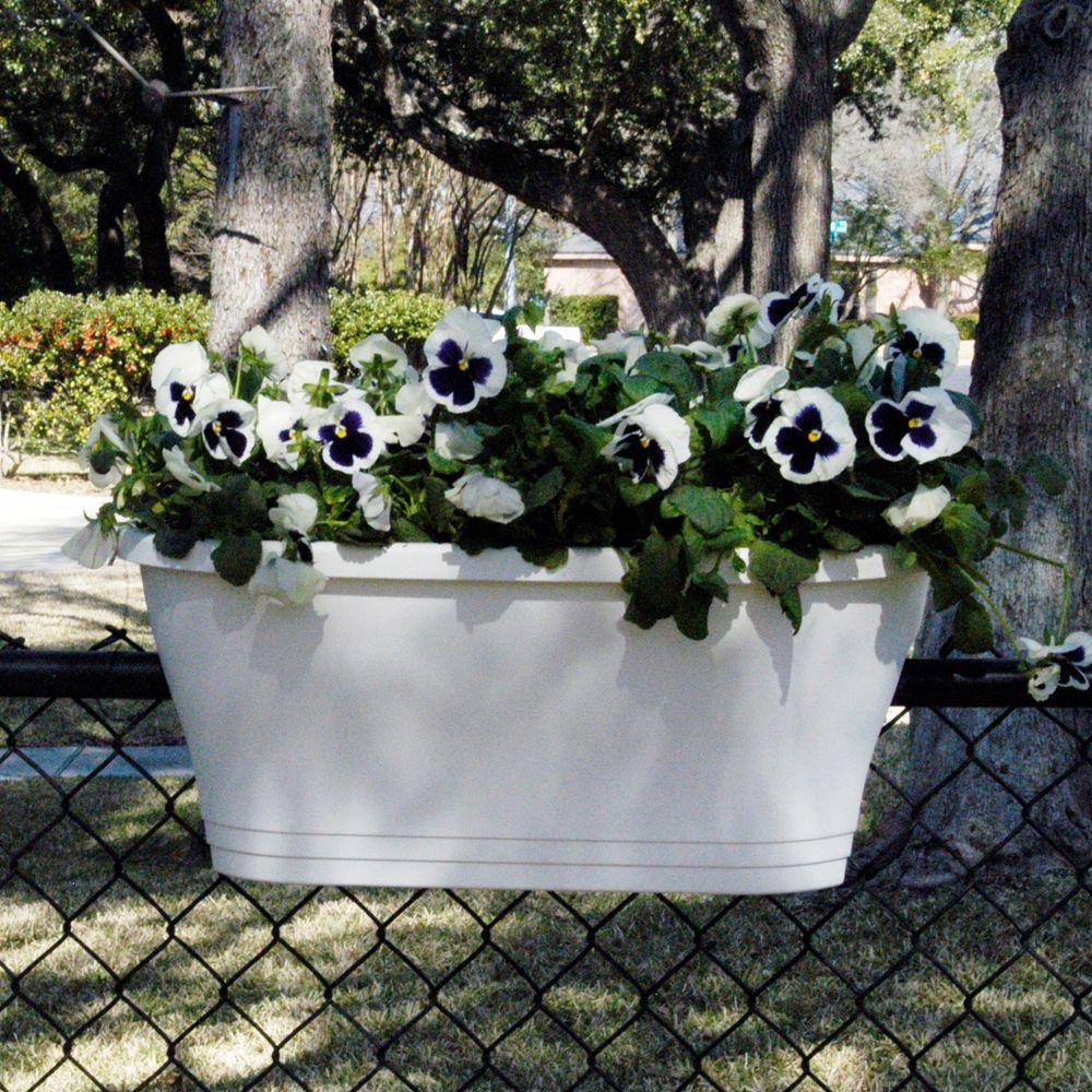 24 in. Oval White Flower Bridge Planter