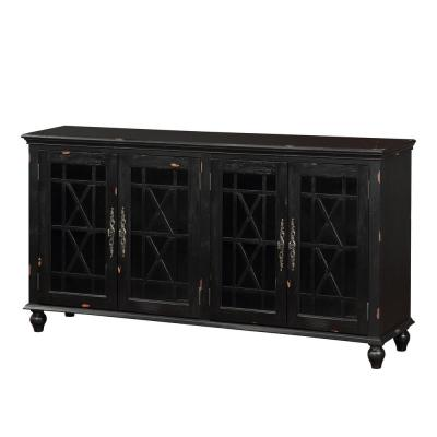 Harper's Branch Aged Black Large Accent Cabinet with Framed Doors