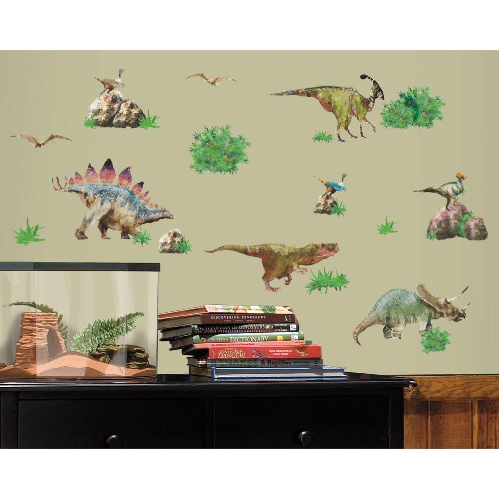 RoomMates 28.75 in. x 54 in. Dinosaur Peel and Stick Wall ...