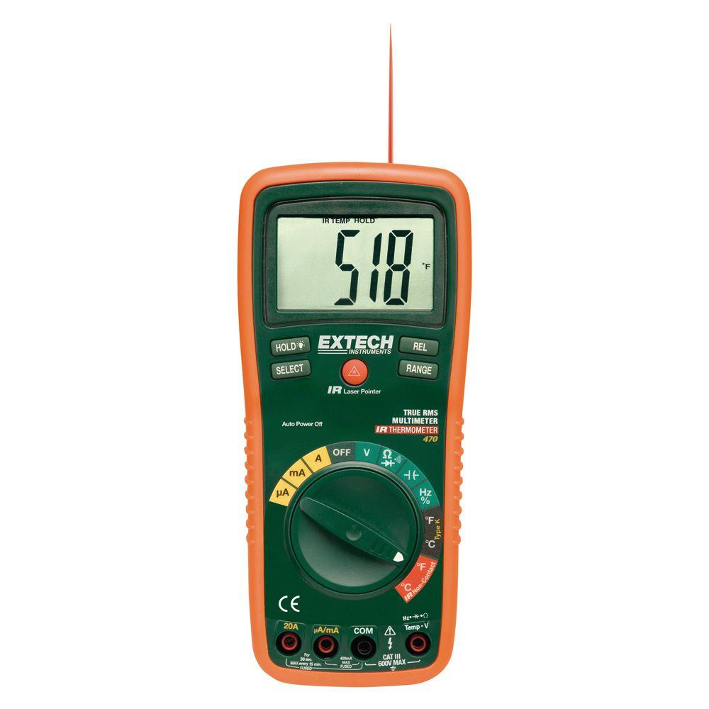 Extech Instruments Manual Multimeter True RMS DMM Built-In IR Thermometer Laser