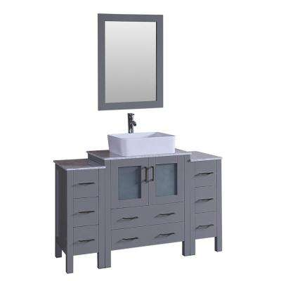 54 in. W Single Bath Vanity with Carrara Marble Vanity Top in Gray with White Basin and Mirror