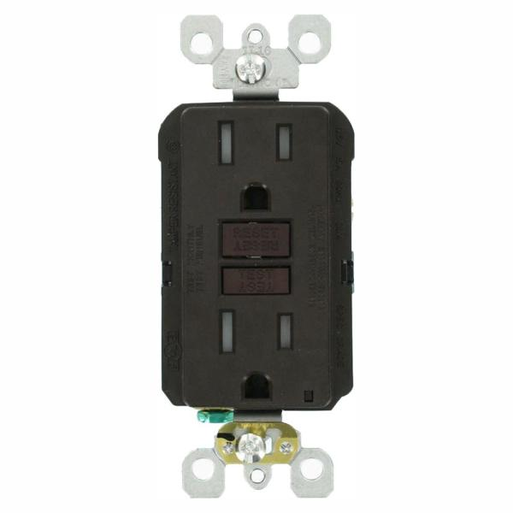 15 Amp 125-Volt Duplex SmarTest Self-Test SmartlockPro Tamper Resistant GFCI Outlet, Brown (6-Pack)