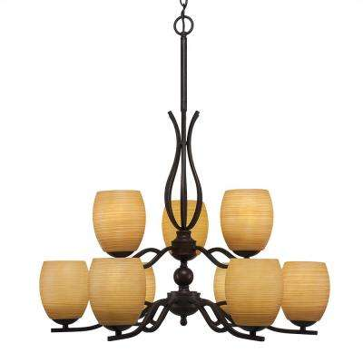 9-Light Dark Granite Chandelier with 5 in. Cayeene Linen Glass