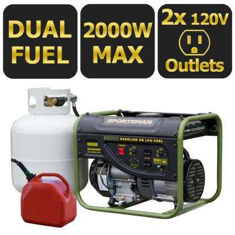 2,000-Watt Dual Fuel Powered Portable Generator with Runs on LPG or Regular Gasoline