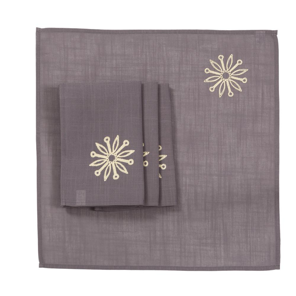 Xia Home Fashions 0.1 in. H x 20 in. W x 20 in. D Sparkling Snowflakes Embroidered Single Layer Christmas Napkins (Set of 4)