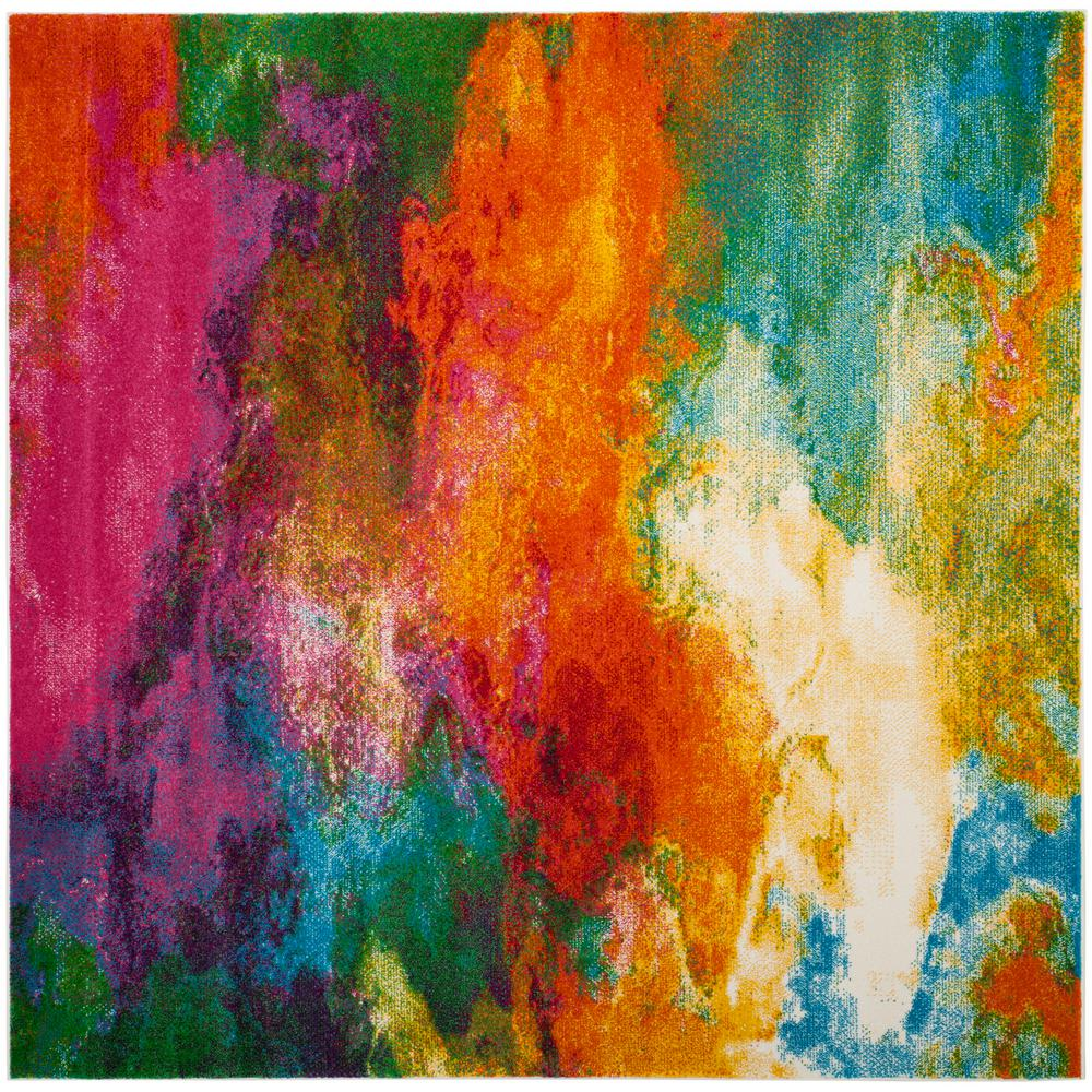 Safavieh Watercolor Orange/Green 7 Ft. Square Area Rug