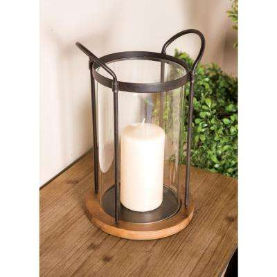 13 in. Clear Glass Cylindrical Candle Holder with Iron Frame and Wooden Base