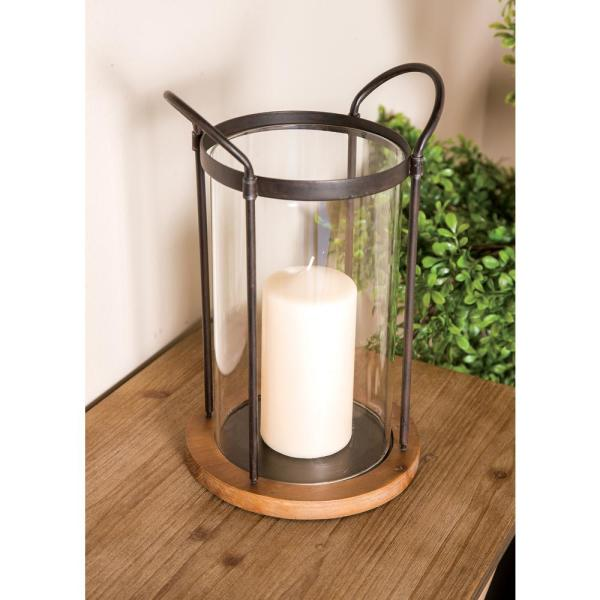 9eb67623e2 Litton Lane 13 in. Clear Glass Cylindrical Candle Holder with Iron ...