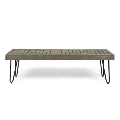 Jane 3-Person Gray Wood and Black Metal Outdoor Bench