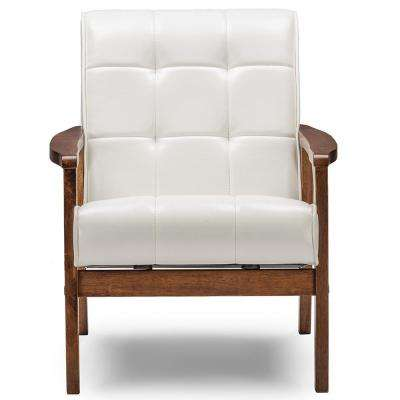 Masterpiece Mid-Century White Faux Leather Upholstered Chair