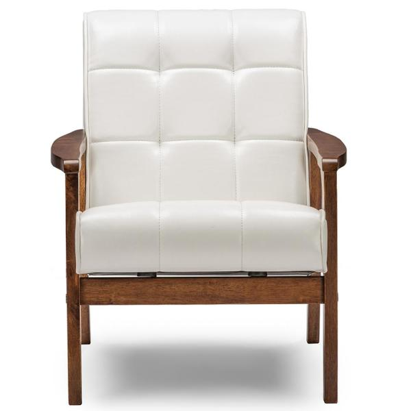 Baxton Studio Masterpiece Mid-Century White Faux Leather Upholstered Chair