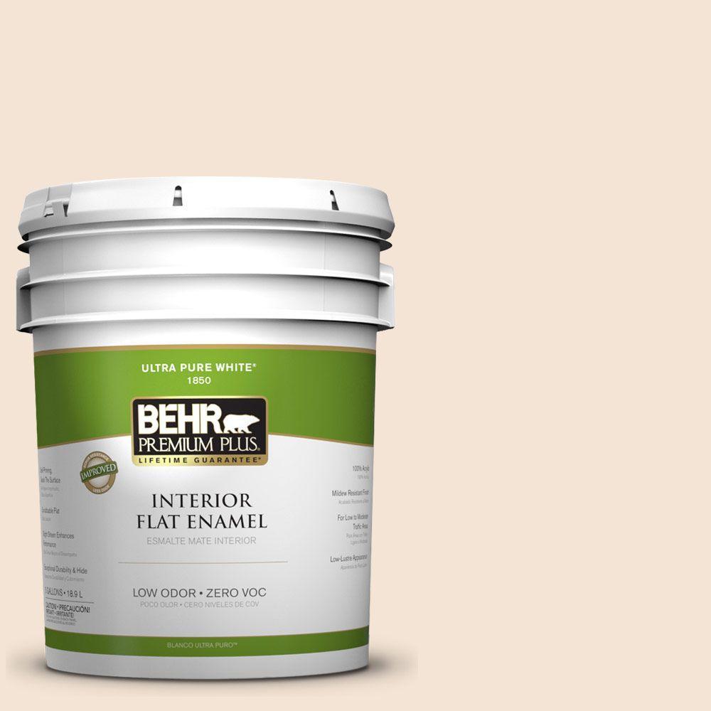 BEHR Premium Plus 5-gal. #ECC-41-1 Fair Winds Zero VOC Flat Enamel Interior Paint-DISCONTINUED