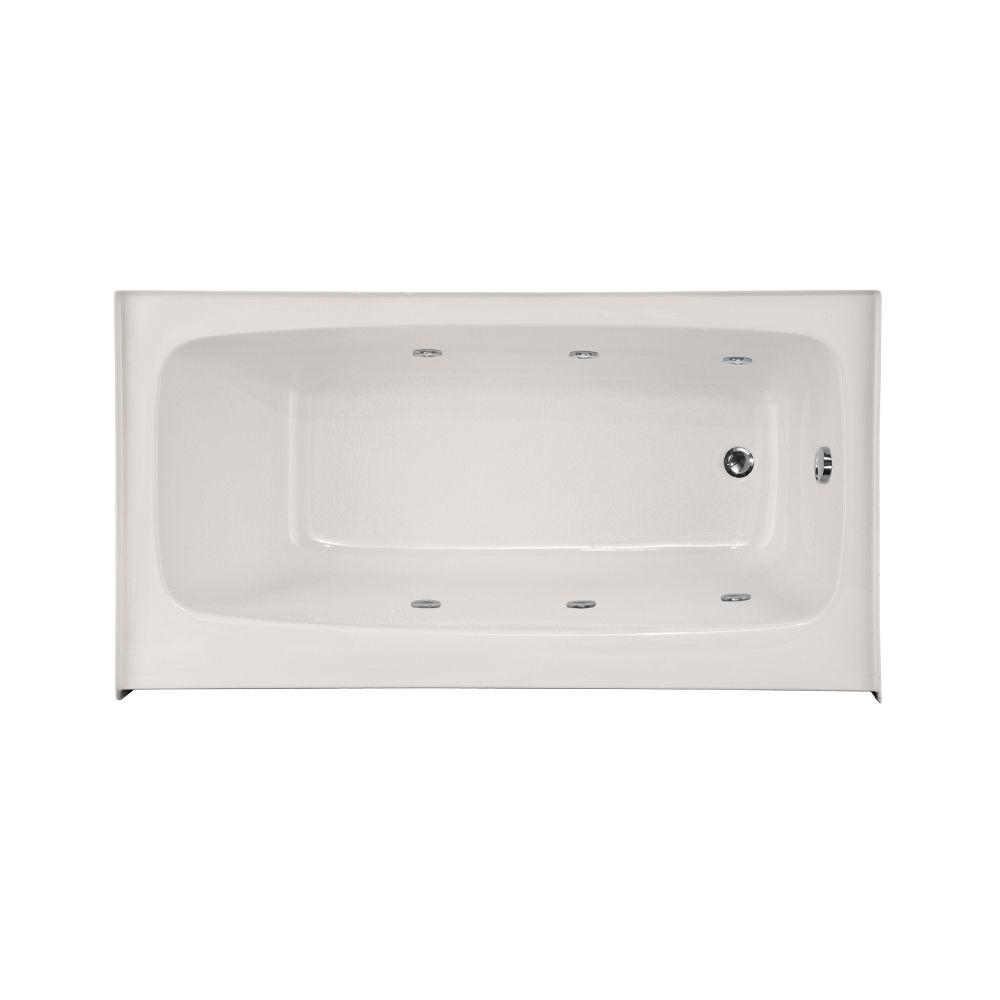 Rectangle Right Hand Drain Whirlpool Tub In White