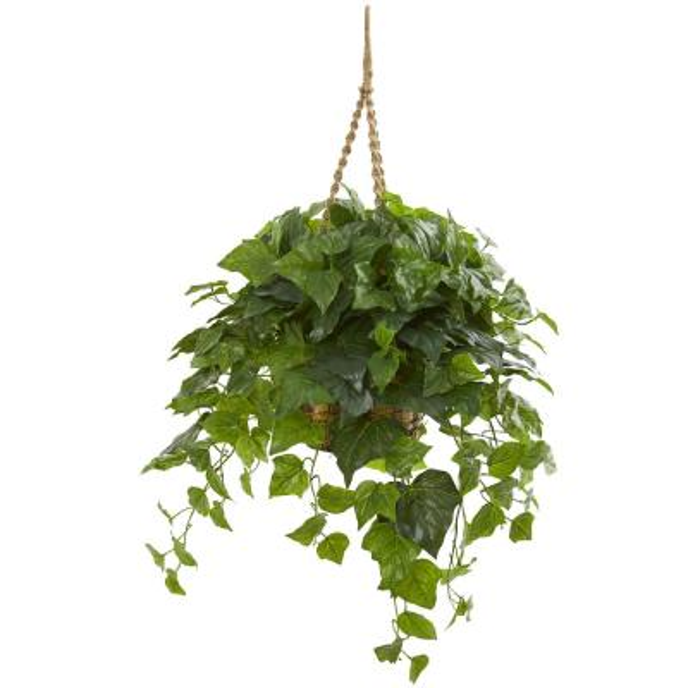 Indoor 38 London Ivy Artificial Plant in Hanging Basket