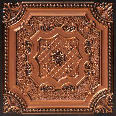 My Beautiful Damaris 2 ft. x 2 ft. PVC Glue-up or Lay-in Ceiling Tile in Antique Copper