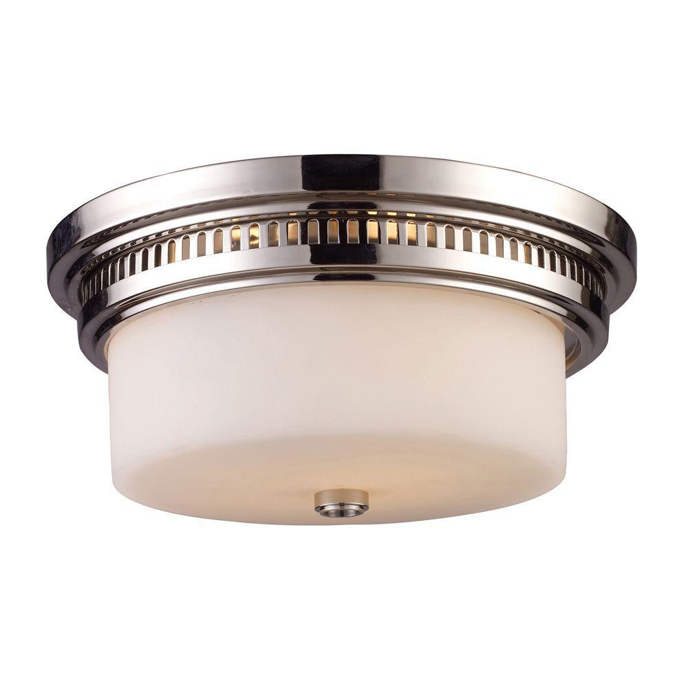 An Lighting Chadwick 2 Light Polished Nickel Ceiling Flushmount