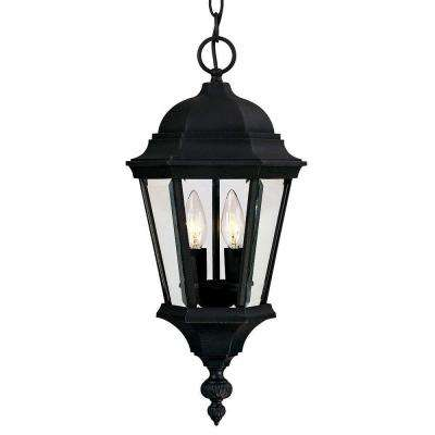 2-Light Outdoor Hanging Textured Black Lantern with Clear Beveled Glass